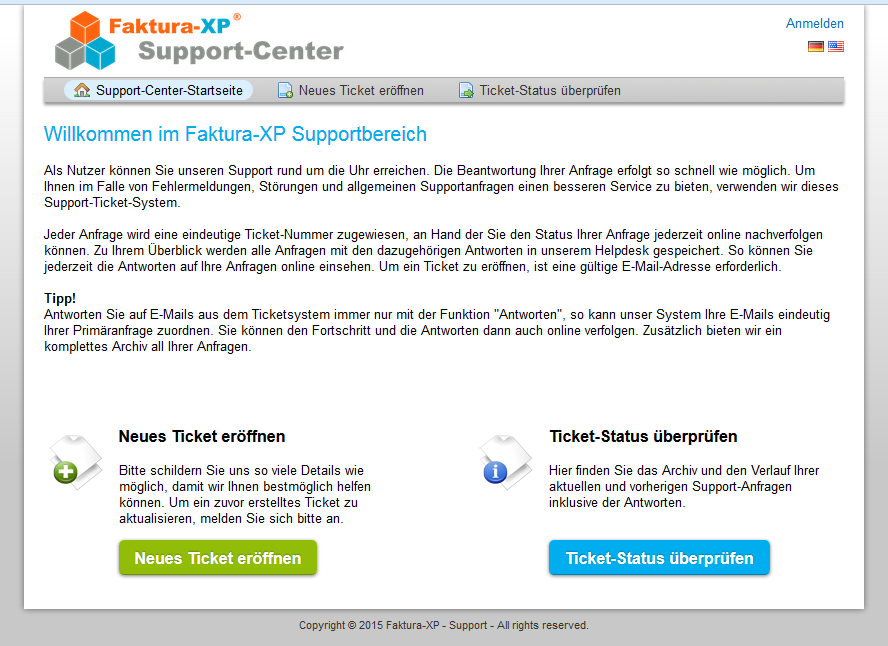 Faktura-XP Support Ticket System