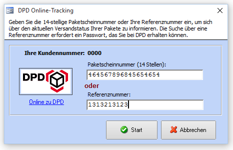 DPD Online Tracking Dialog