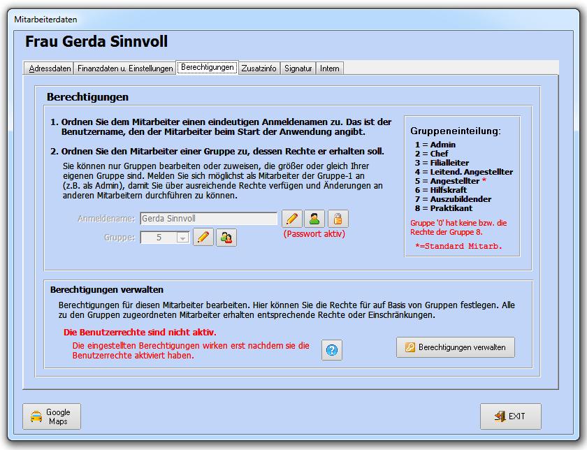Mitarbeiterverwaltung – Faktura-XP Warenwirtschaft Handbuch und Wiki