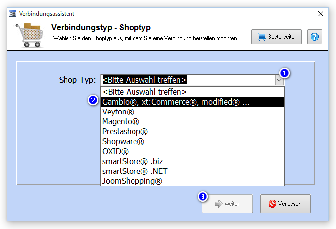 06.Verbindungsassistent Auswahl xtCommerce.png