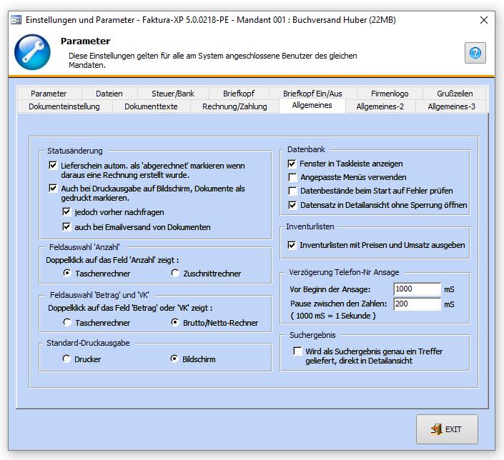 Datenbankparameter Faktura Xp Warenwirtschaft Handbuch Und Wiki