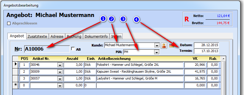 Angeboteab Erstellen Faktura Xp Warenwirtschaft Handbuch Und Wiki